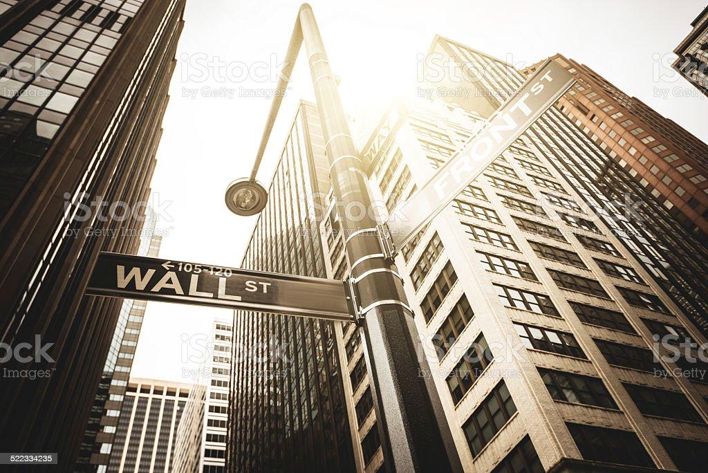 Wall street sign on manhattan stock photo
