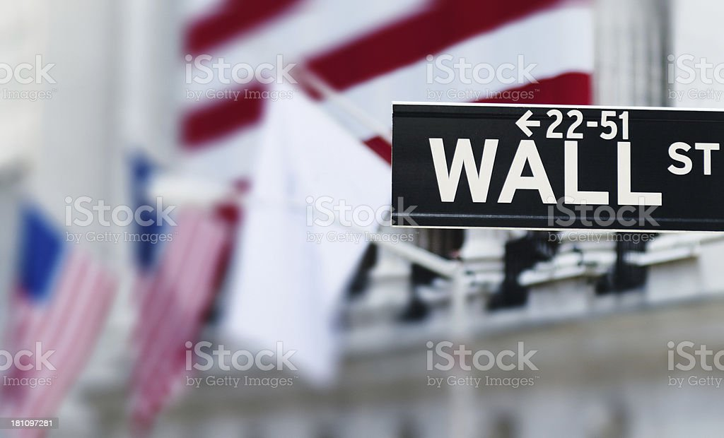 wall street sign on us flag royalty-free stock photo