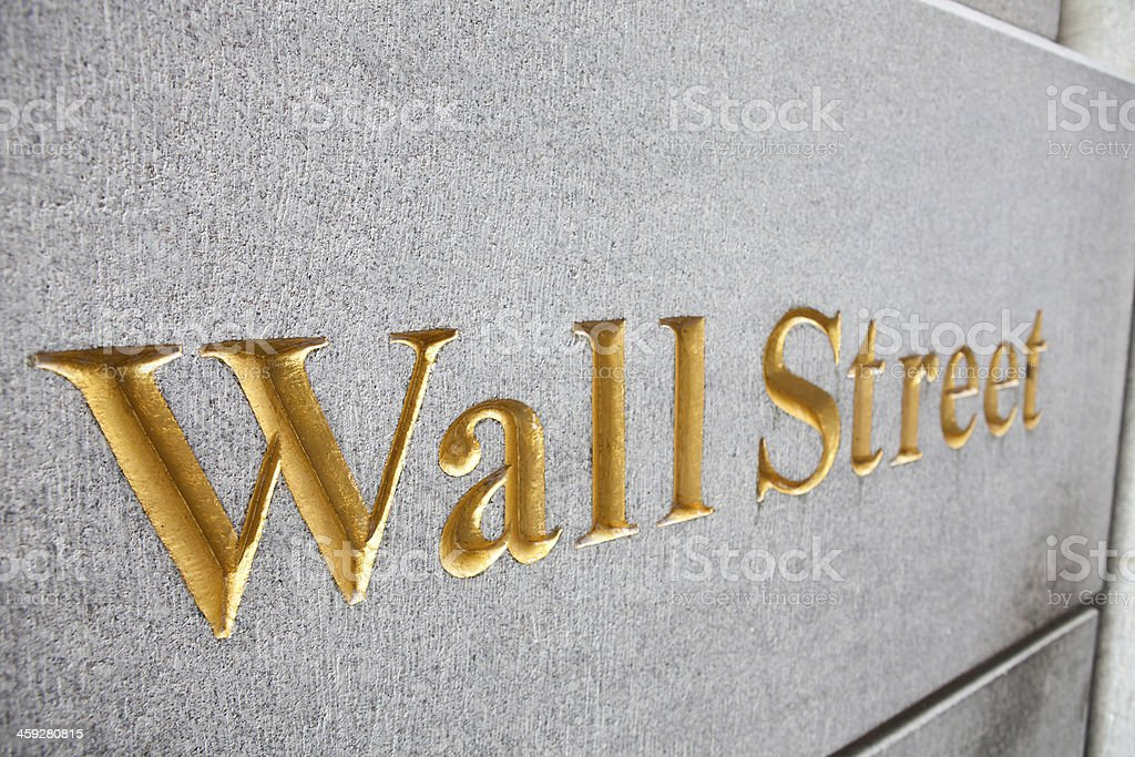Wall street sign stock photo