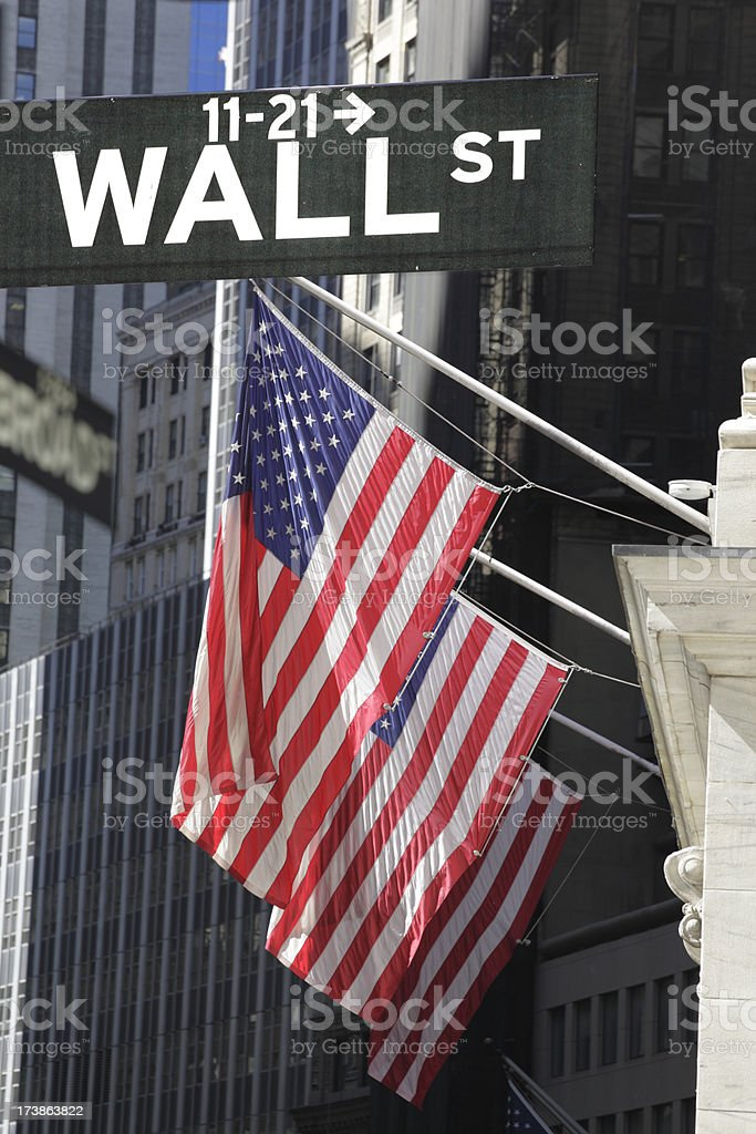 wall street sign with american flags in background royalty-free stock photo