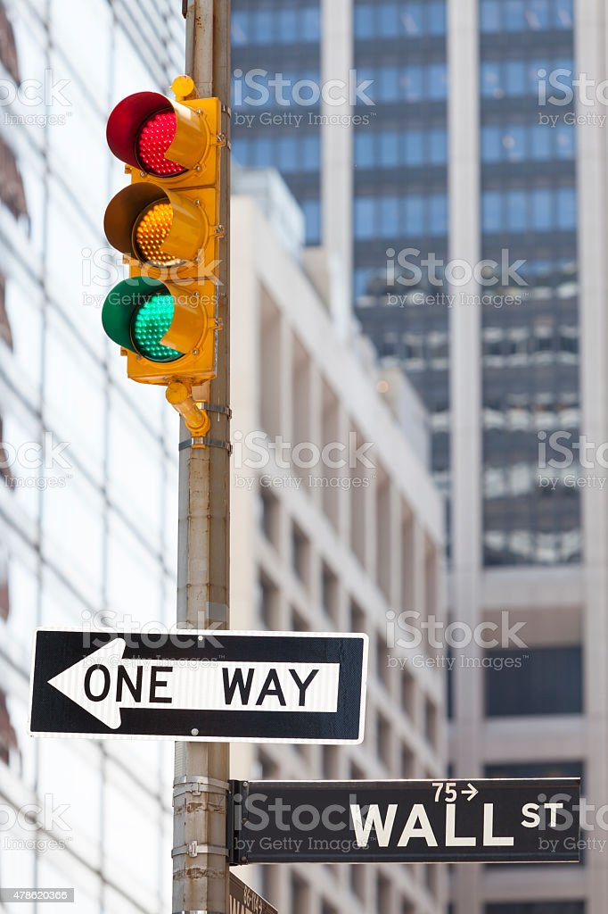 Wall Street Sign With Traffic Light, Business Concept stock photo