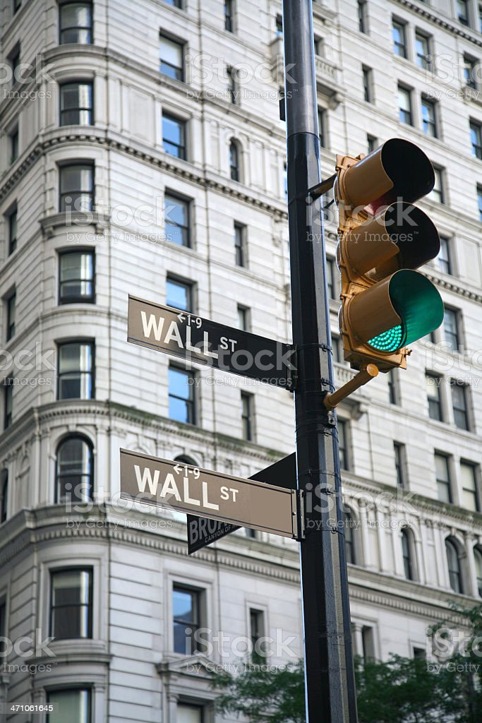 Wall Street Signs On Broadway royalty-free stock photo
