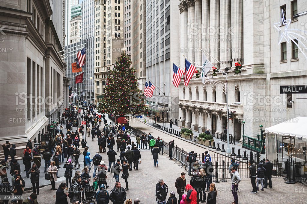 Wall street stock exchange building in NYC - Manhattan stock photo