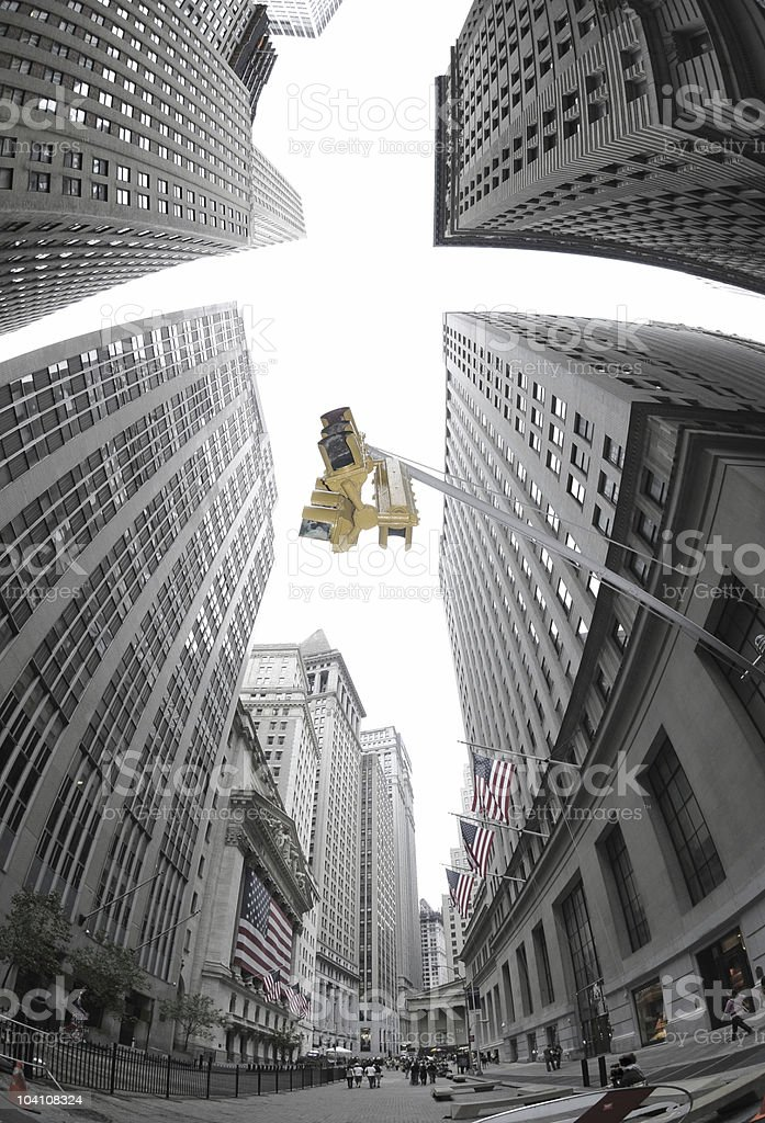 Wall Street Traffic Signal stock photo