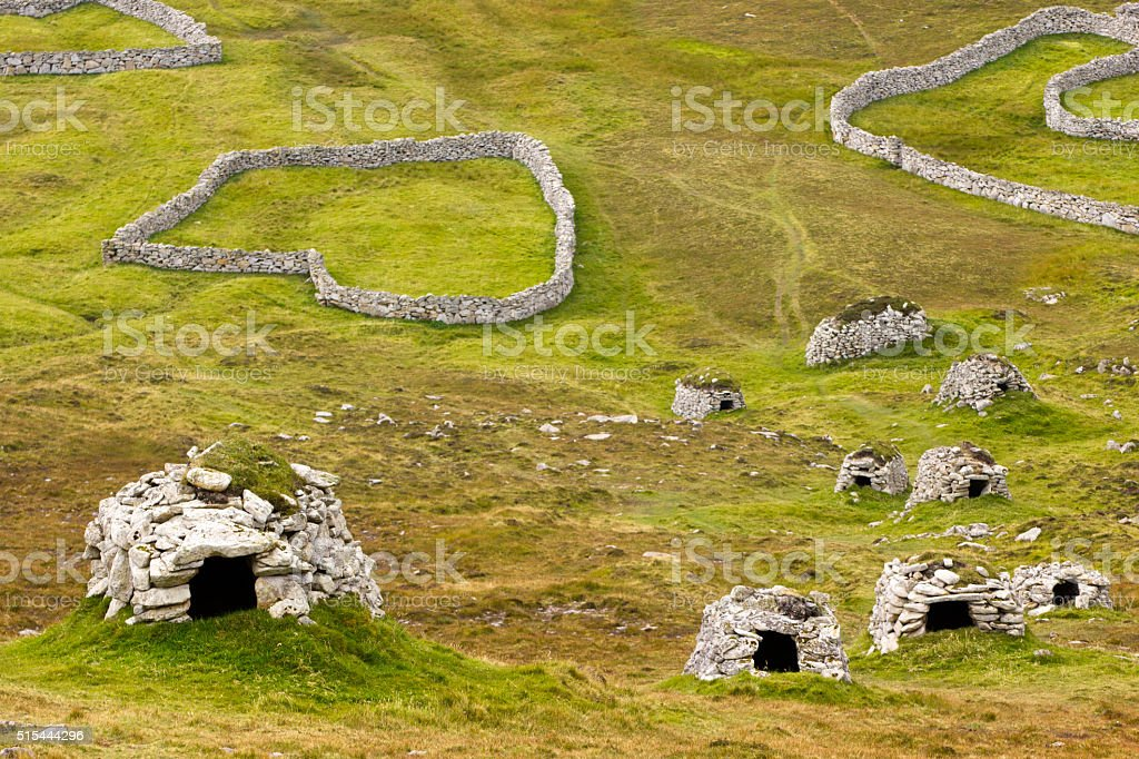 Wall structures and shelters, St Kilda stock photo