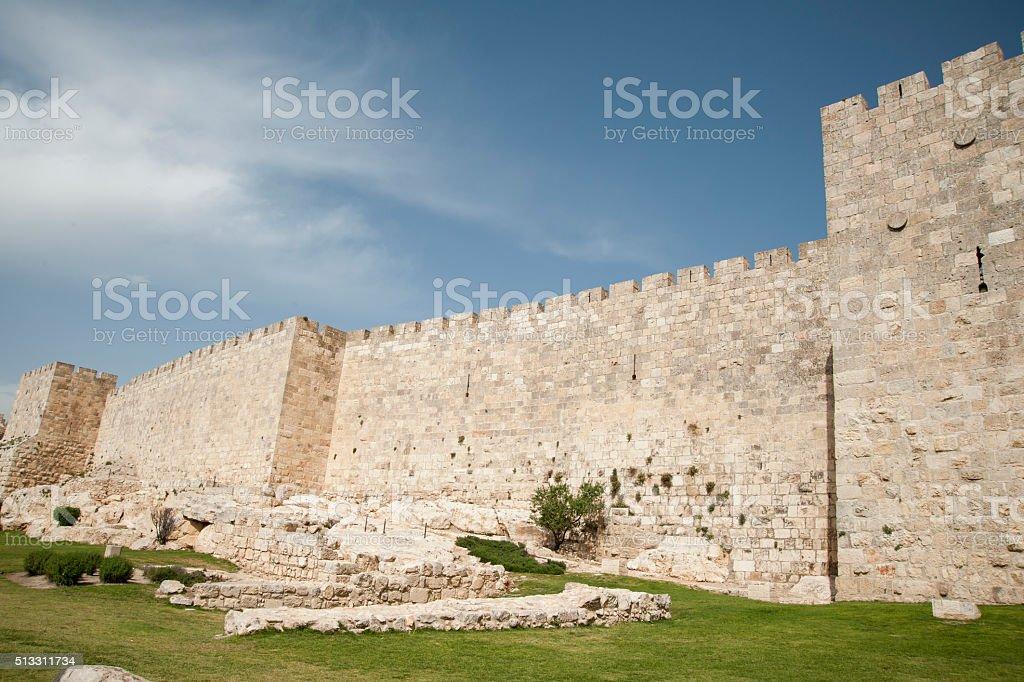 Wall surrounding Old City Jerusalem stock photo
