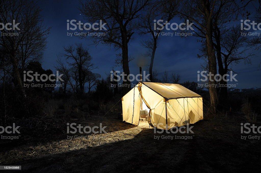 Wall Tent at Night stock photo