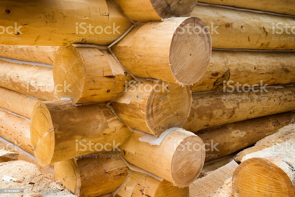 Wall under construction of country wooden house stock photo