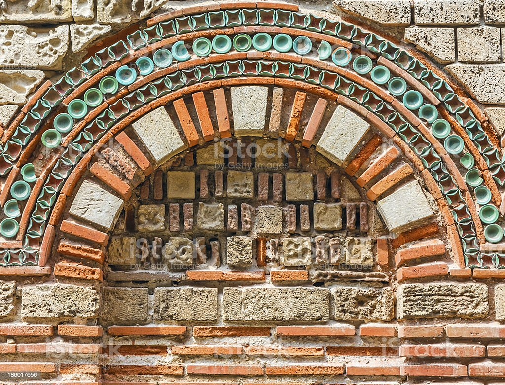 Wall with arch, close-up stock photo
