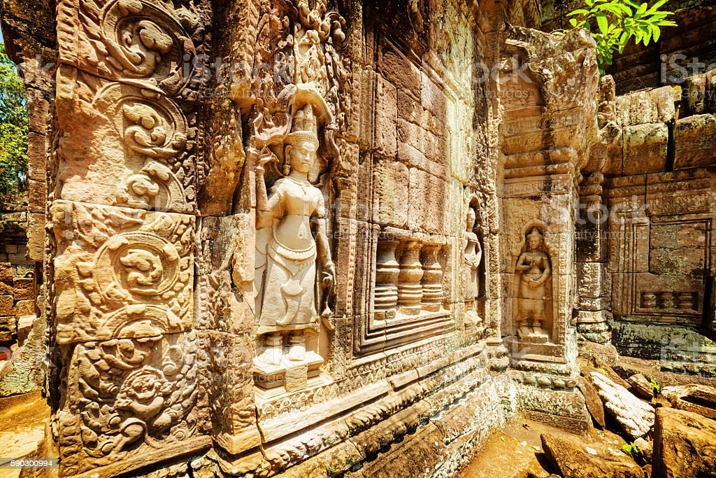 Wall with bas-relief of ancient Ta Som temple, Angkor, Cambodia stock photo
