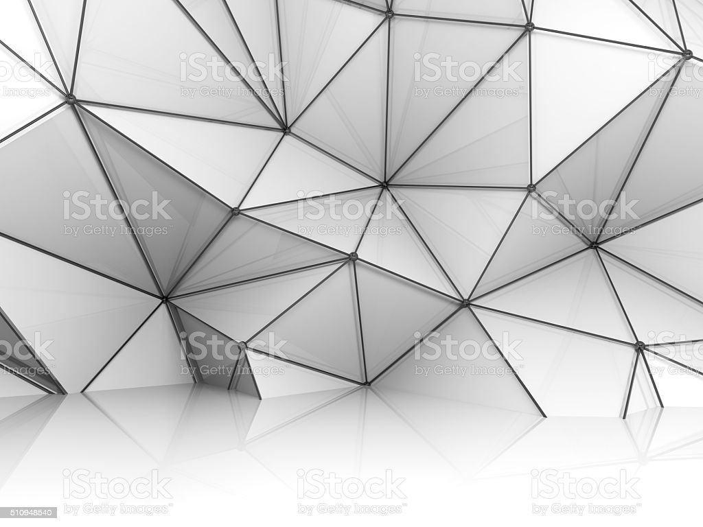 Wall with black metal wire-frame mesh 3d stock photo