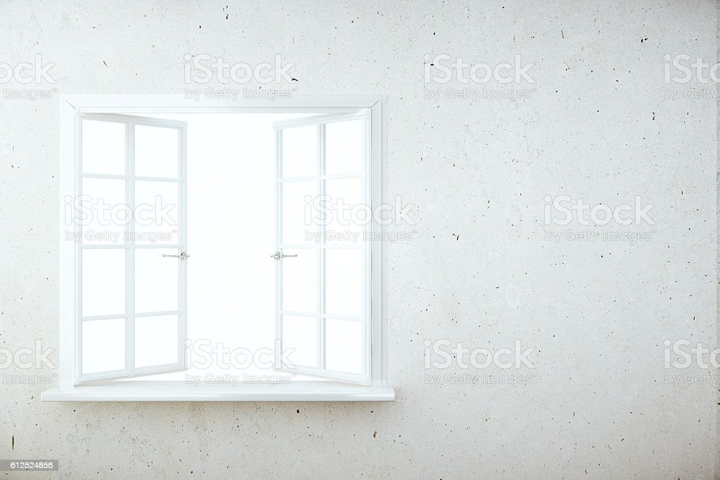 Wall with blank window stock photo