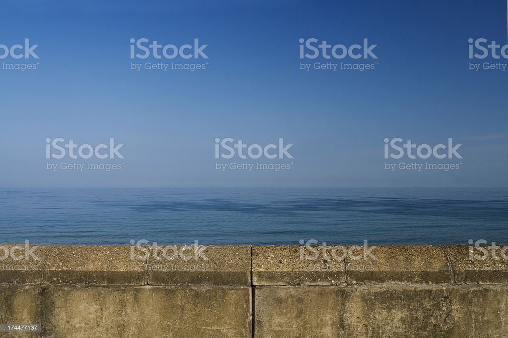 Wall with blue sea and sky royalty-free stock photo
