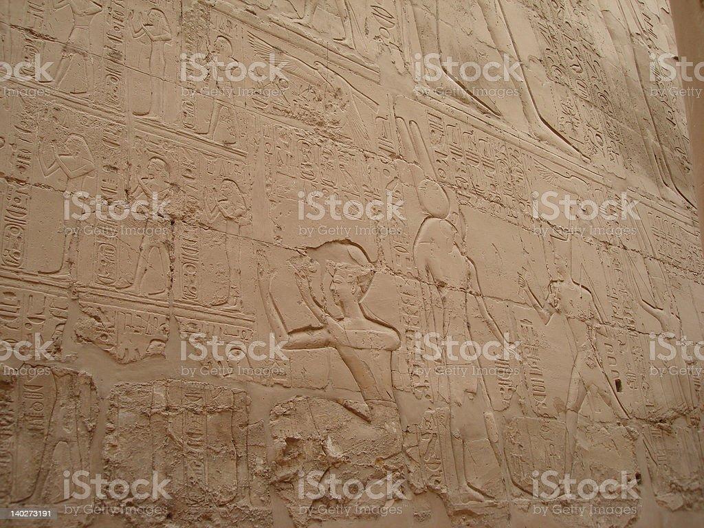 Parede com hieroglyphs no Egipto foto de stock royalty-free