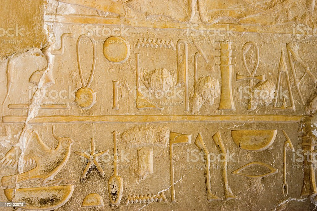 Wall With Hieroglyphs royalty-free stock photo