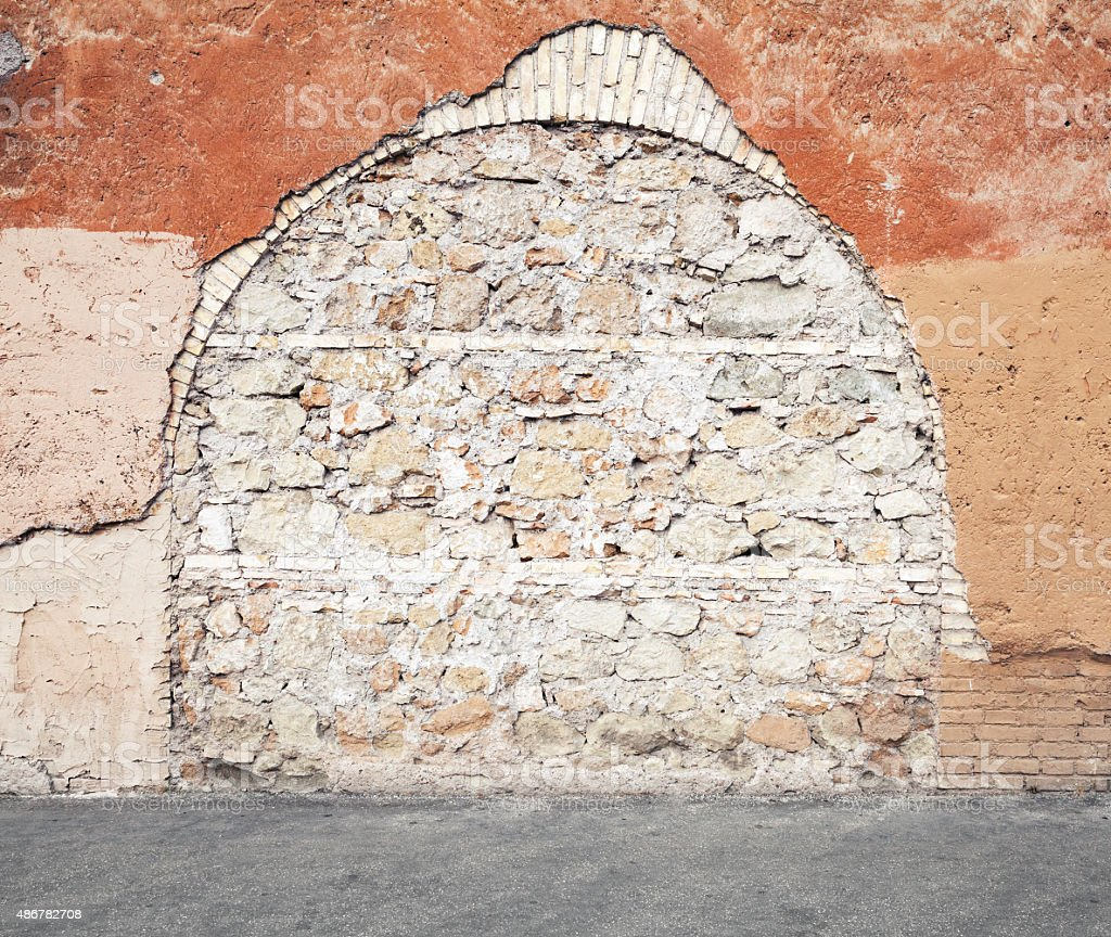 Wall with  immured arch passage, photo texture stock photo