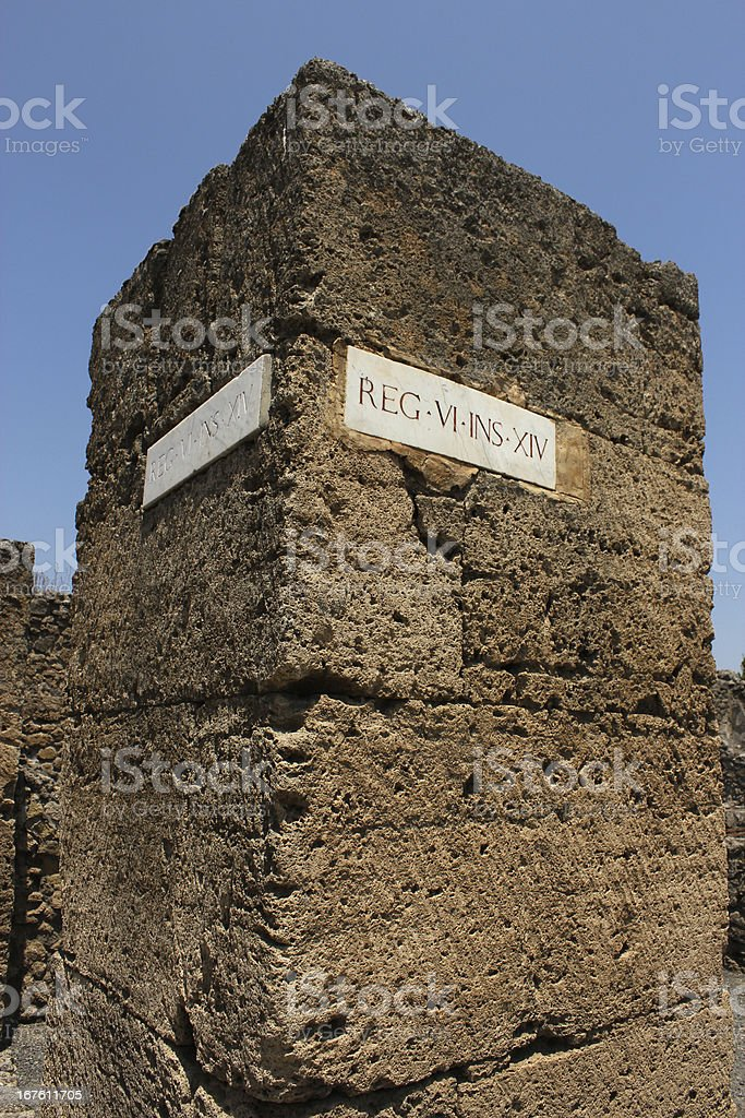 Wall with inscription in Pompei royalty-free stock photo