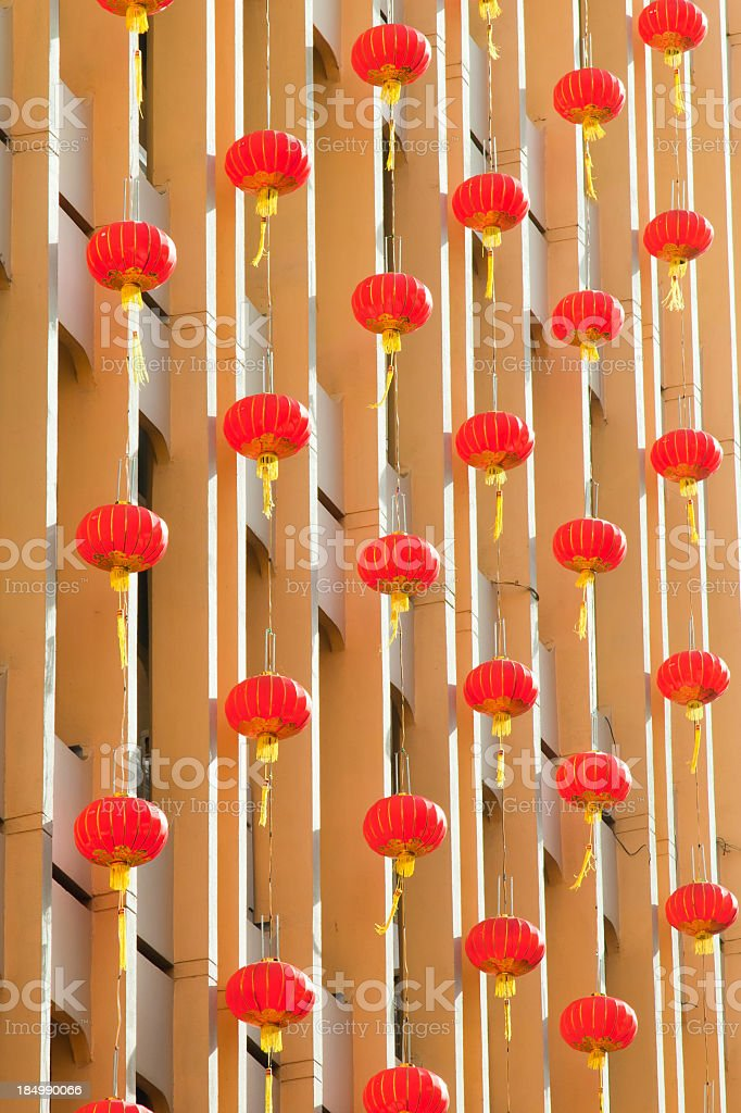 wall with lanterns chinese new year stock photo