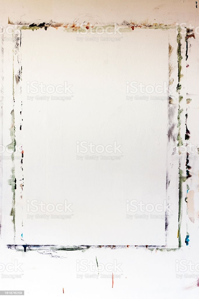 Wall with outlines of painting, background with copy space royalty-free stock photo