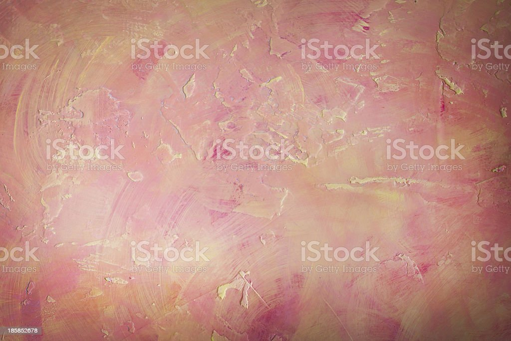 Wall with pink and yellow texture stock photo