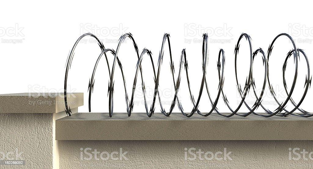 Wall With Razor Wire stock photo