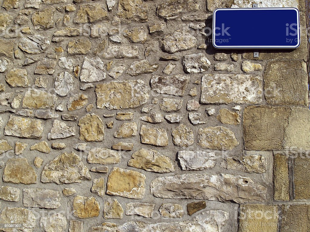 wall with street name sign royalty-free stock photo