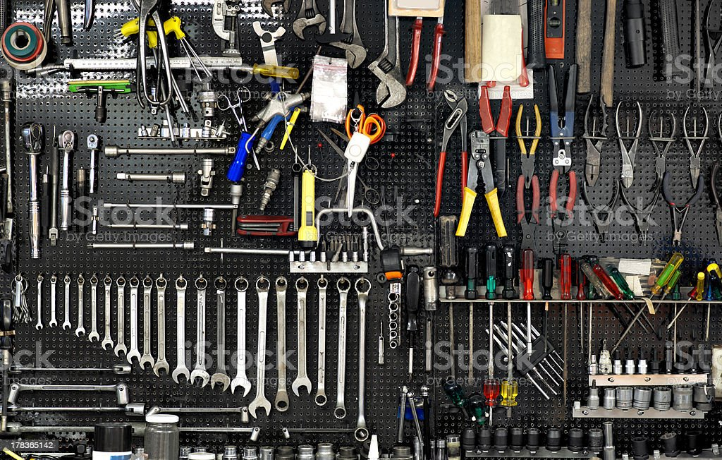 wall with tools stock photo
