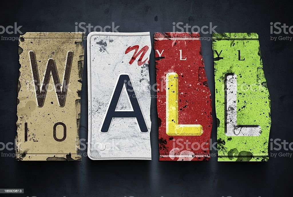 Wall word on vintage car license plates, concept sign royalty-free stock photo