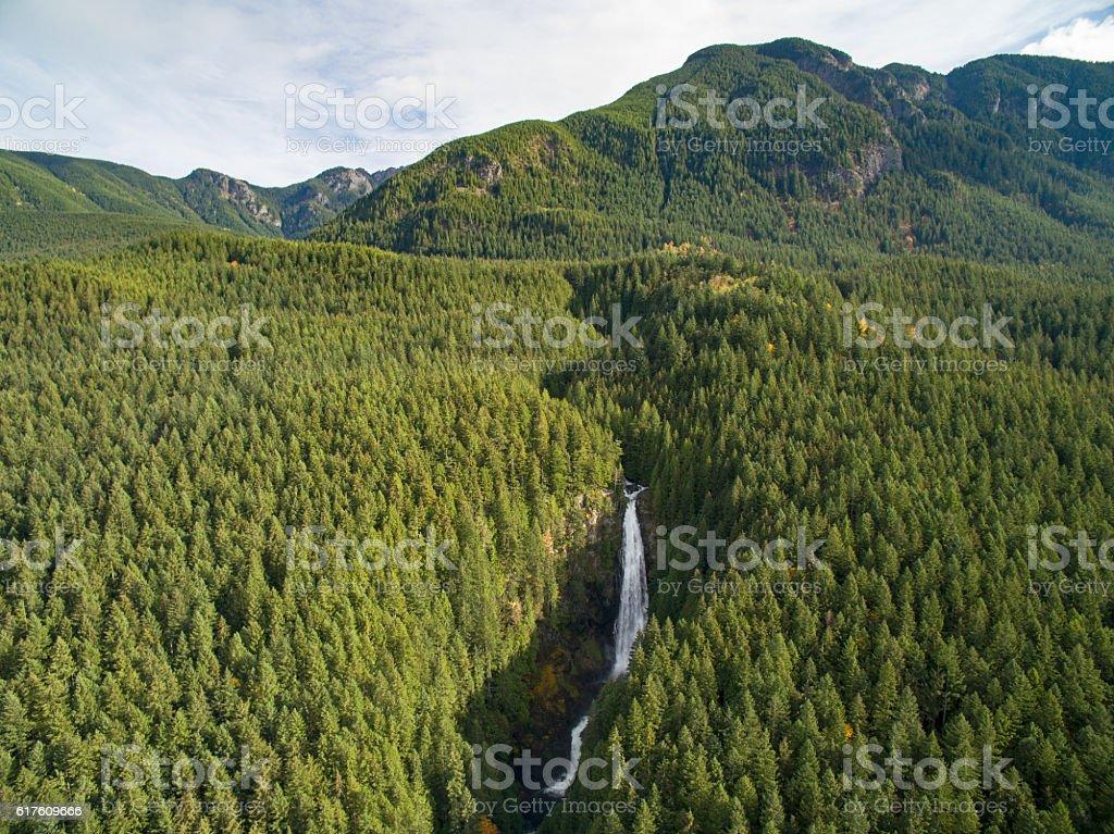 Wallace Falls, Gold Bar Washington Aerial View stock photo