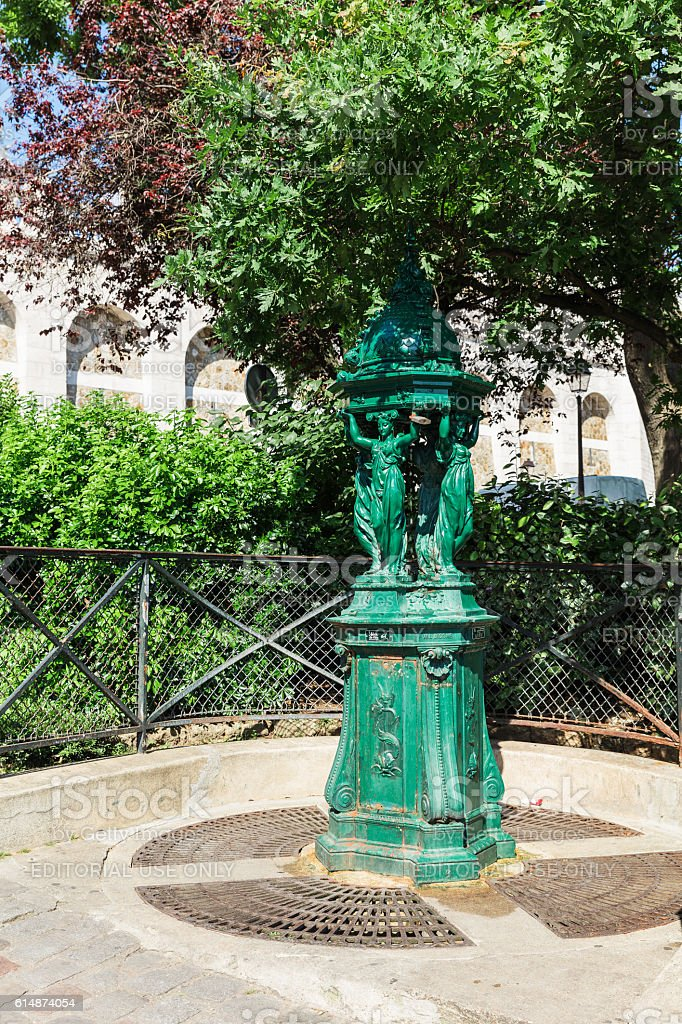 Wallace fountain with women sculpture on Montmartre hill. Paris, France royalty-free stock photo