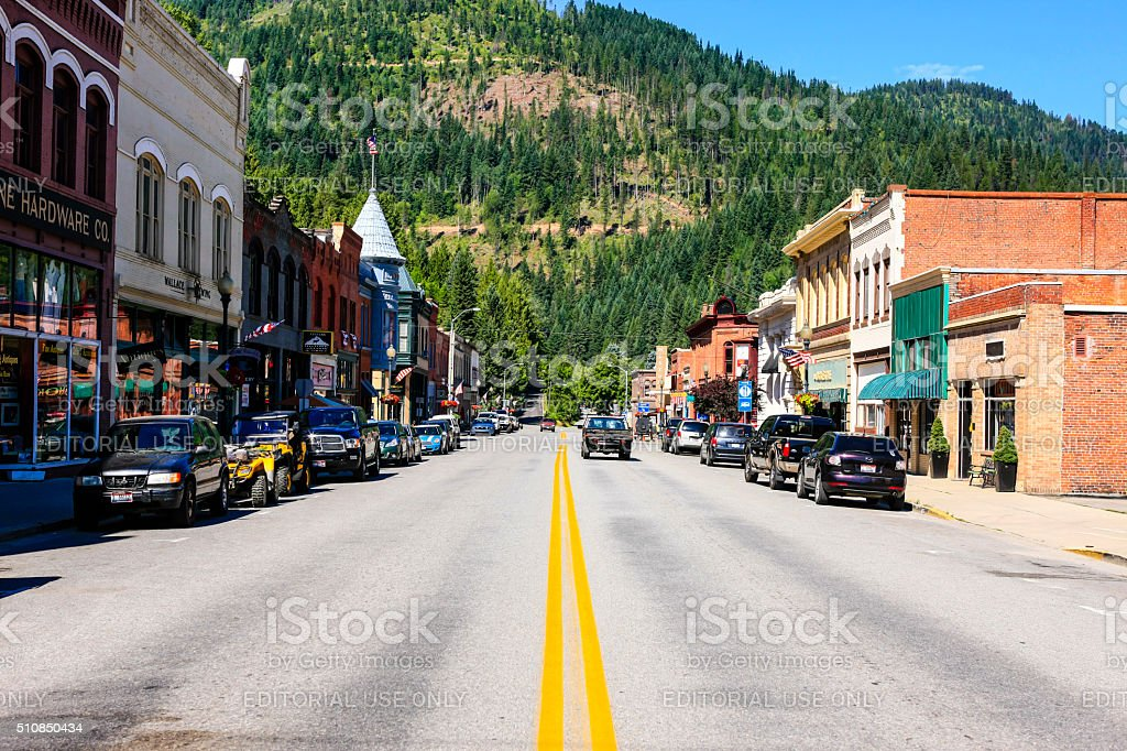 Wallace in the Silver Valley mining district of Idaho stock photo
