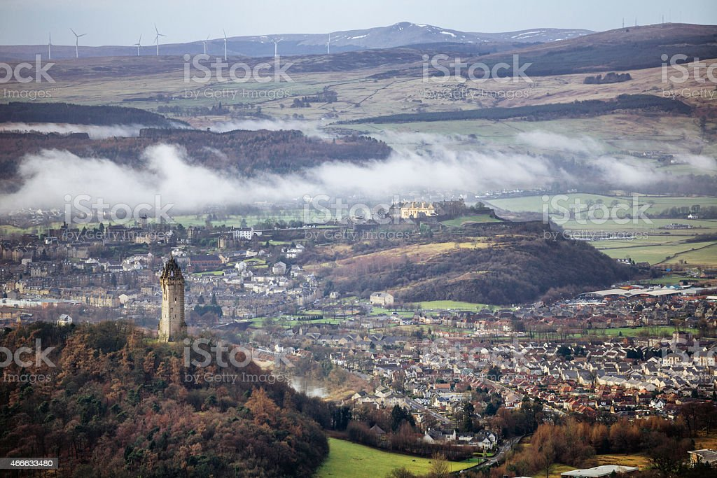 Wallace Monument, City of Stirling and Castle stock photo
