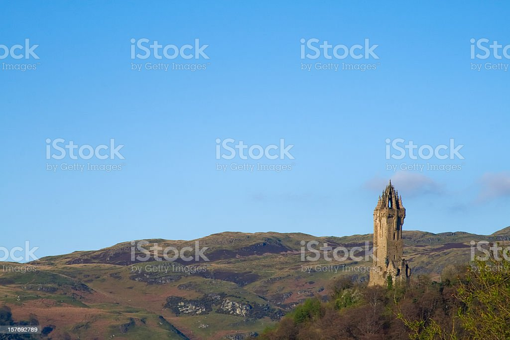 Wallace's Monument from Stirling Bridge, Scotland. stock photo