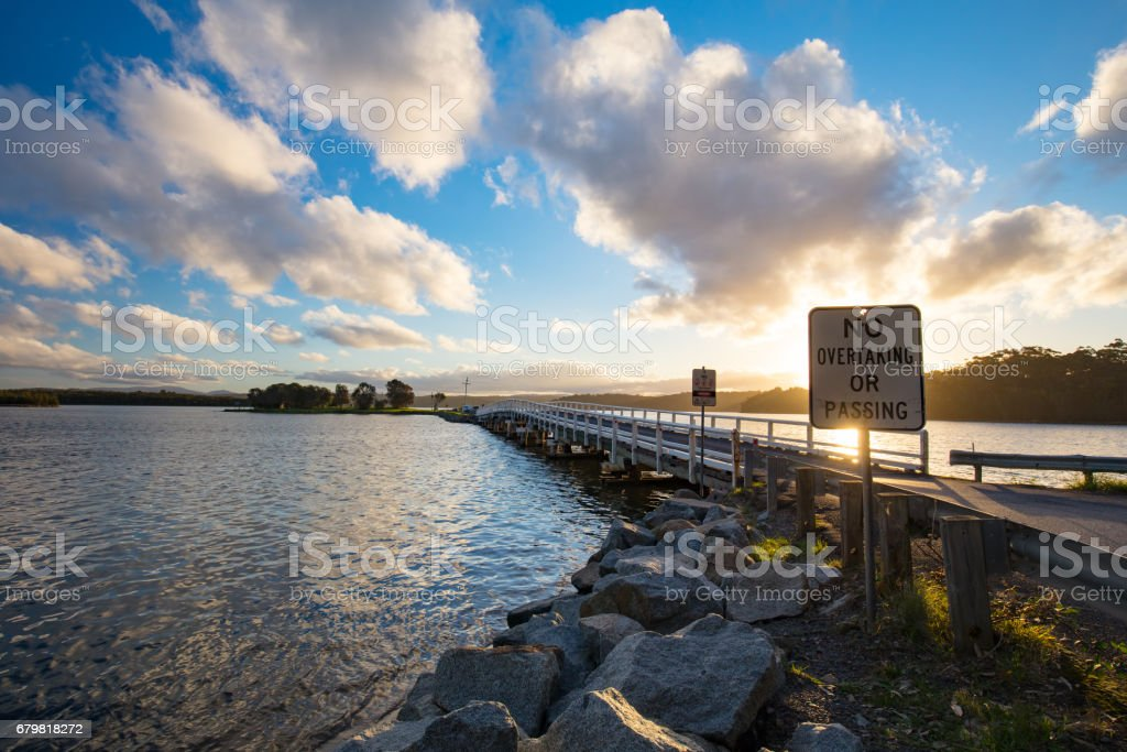 Wallaga Lake at Sunset stock photo