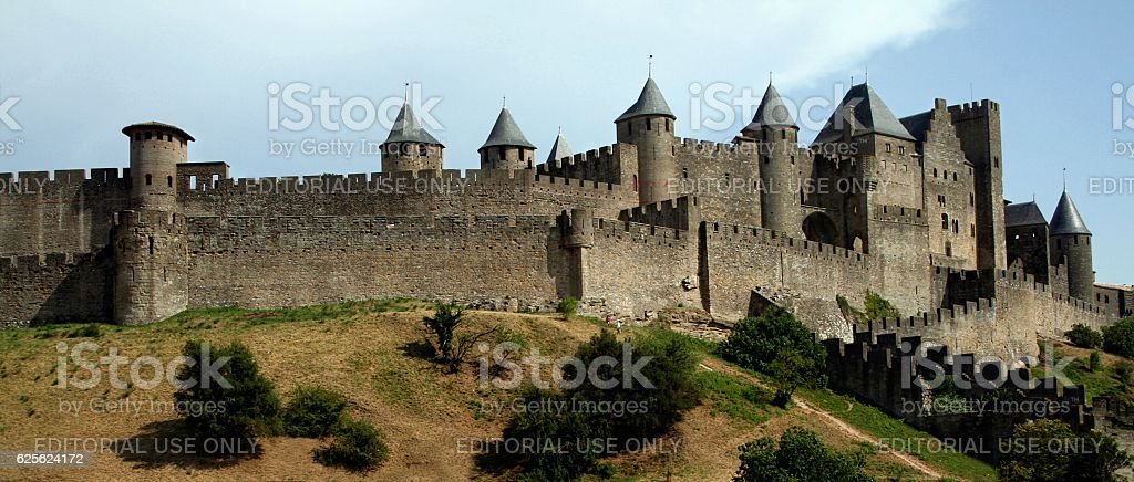 Walled citadel Carcassonne medieval Languedoc Roussillion France Black and White stock photo