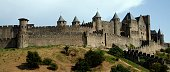 Walled citadel Carcassonne medieval Languedoc Roussillion France Black and White