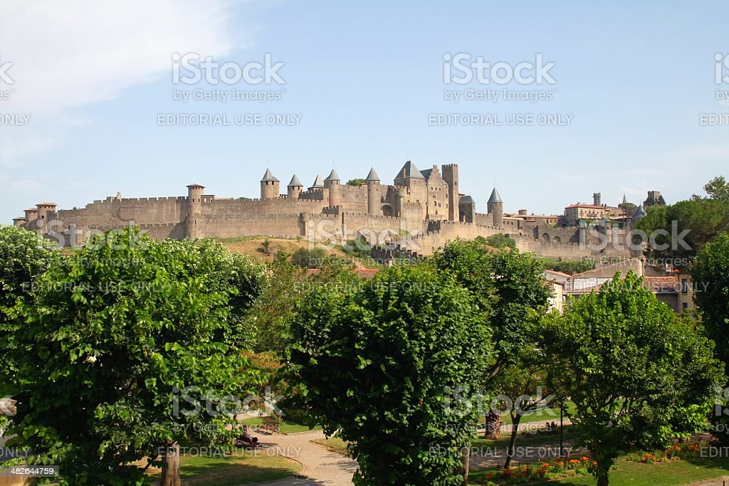Walled citadel of Carcassonne. France. stock photo
