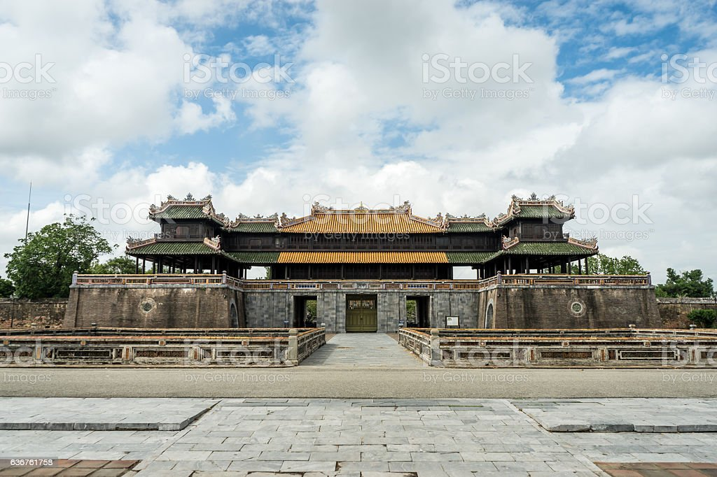Walled fortress entrance to Hue Imperial City, Vietnam. stock photo
