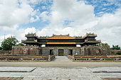 Walled fortress entrance to Hue Imperial City, Vietnam.
