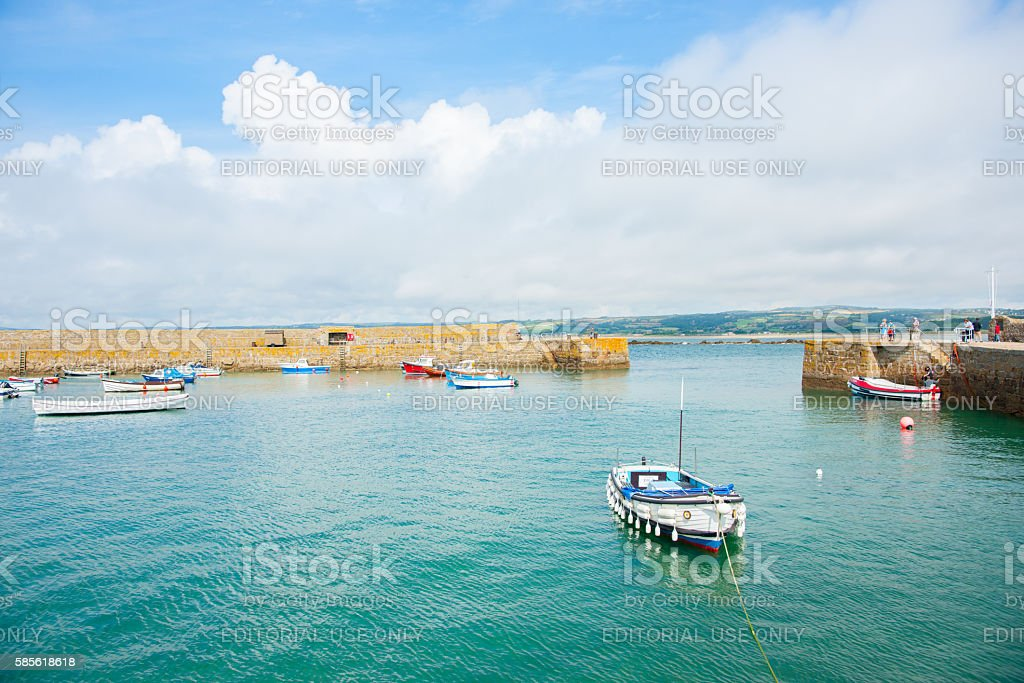 walled harbor at St Michael's Mount Cornwall UK stock photo