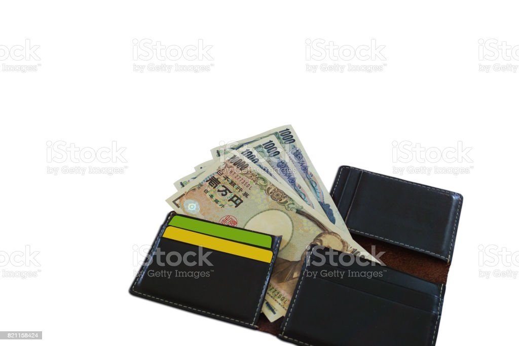 Wallet black stack of money yen isolated stock photo