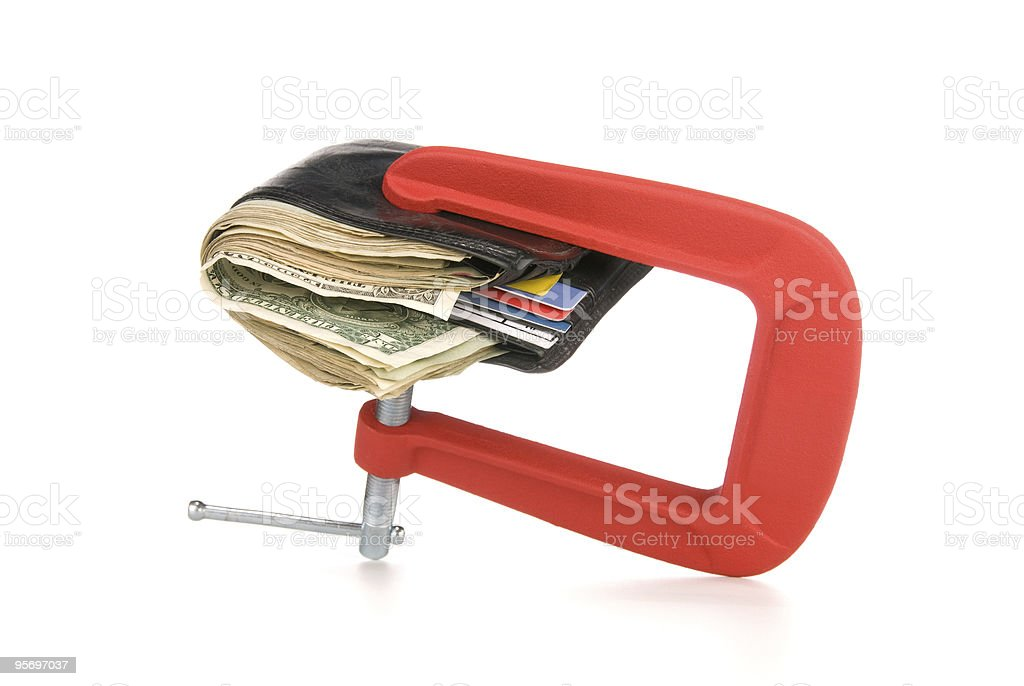 Wallet clamped shut stock photo