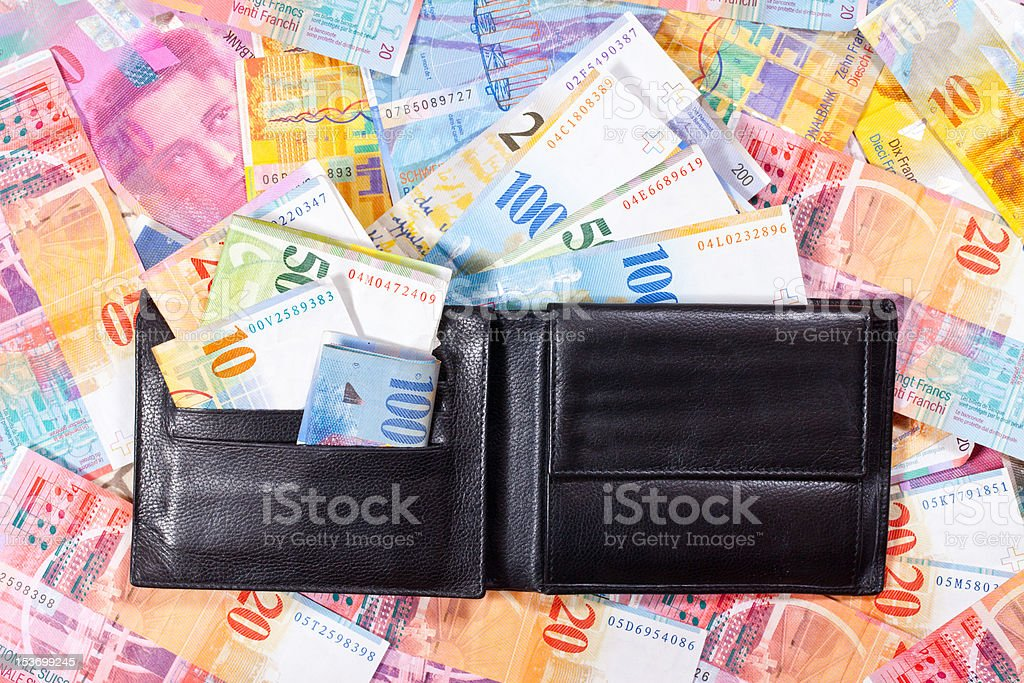 Wallet full of Swiss Francs royalty-free stock photo