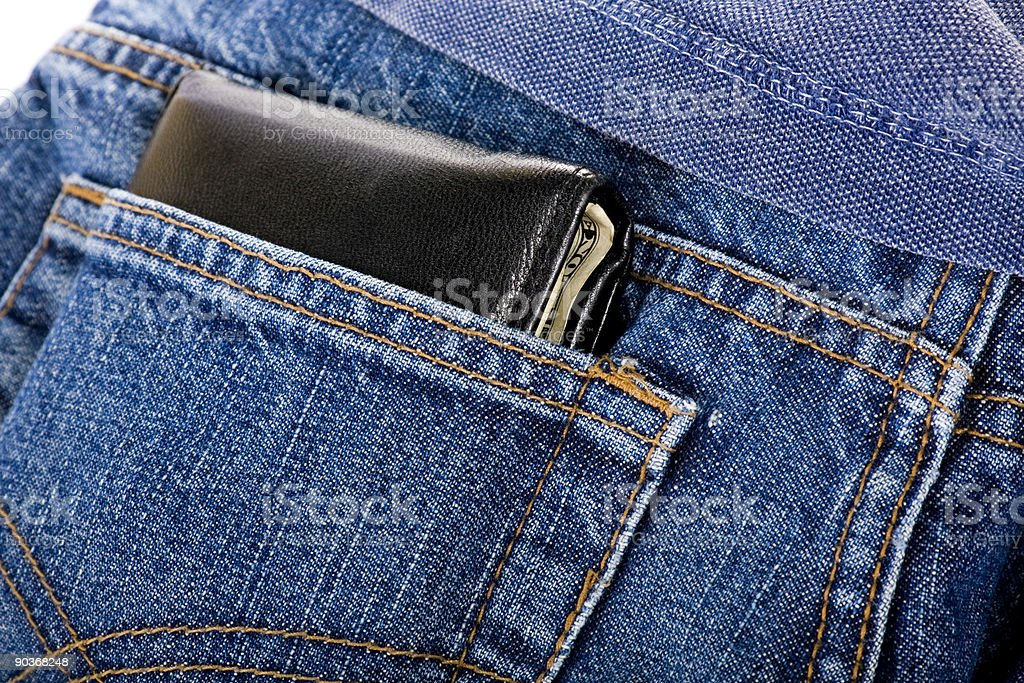 Wallet in back pocket stock photo