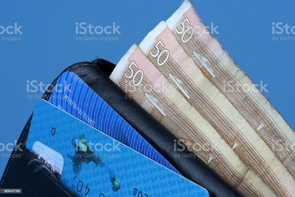 Wallet, money and credit cards stock photo