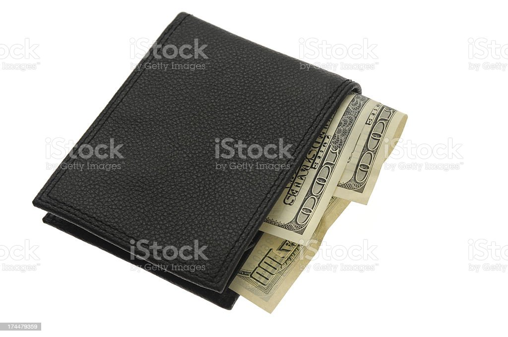 Wallet Stuffed With Hundred Dollar Bills royalty-free stock photo