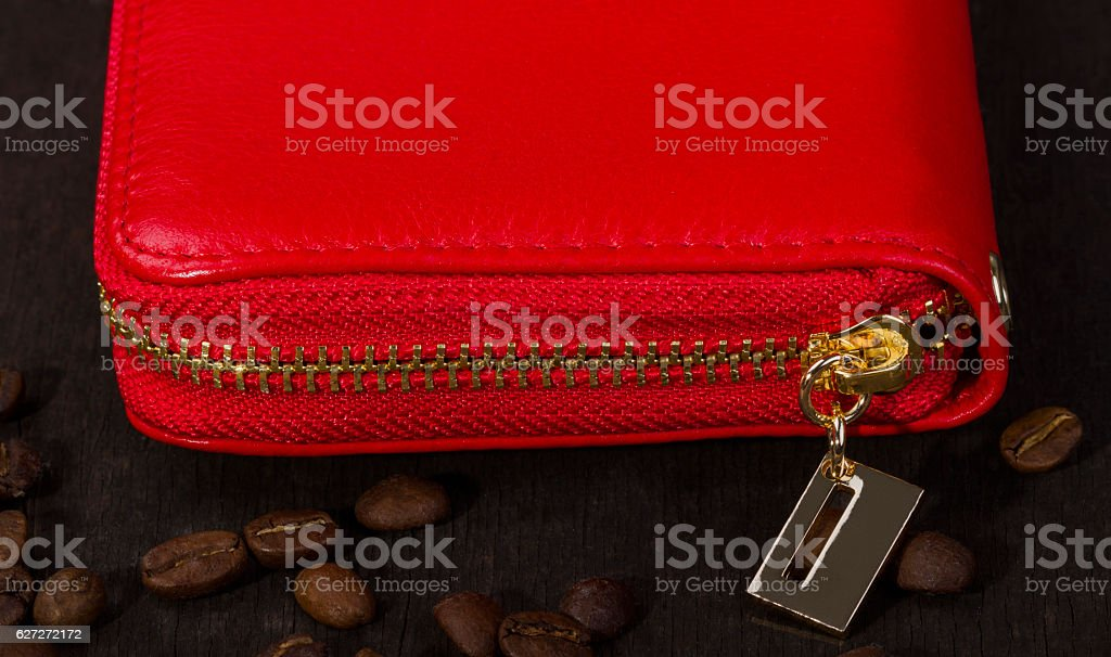 wallet under zipper stock photo