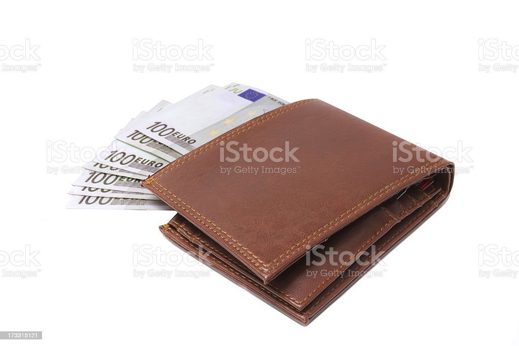 Wallet with 100 euro banknotes isolated over white royalty-free stock photo