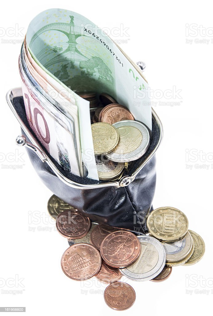 Wallet with Bills and Coins royalty-free stock photo