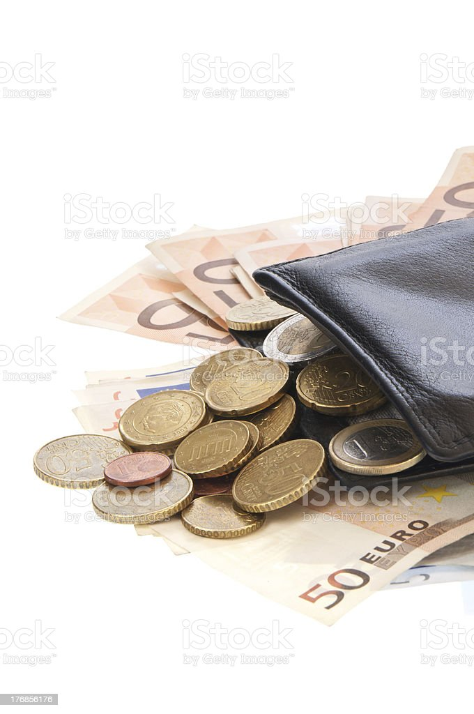 Wallet with bills royalty-free stock photo